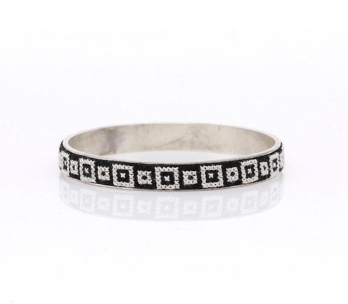 Slim Bangle Silver-Plated Arabesque (Black)