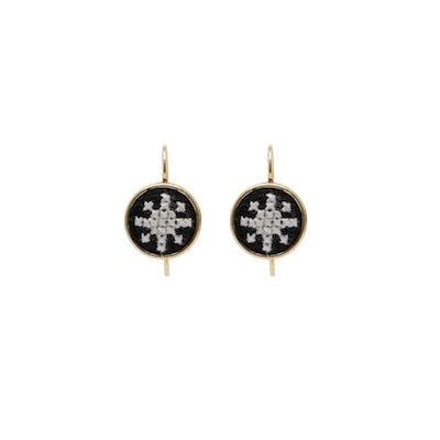 Dainty Earring Gold-Plated Arabesque (Black)