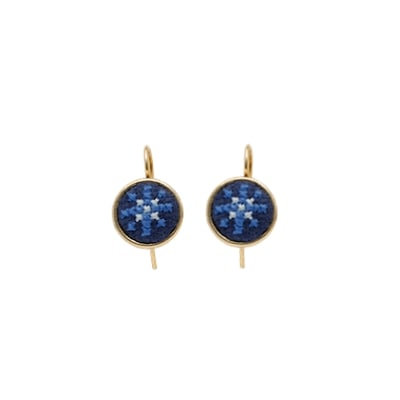 Dainty Earring Gold-Plated Arabesque (Blue)
