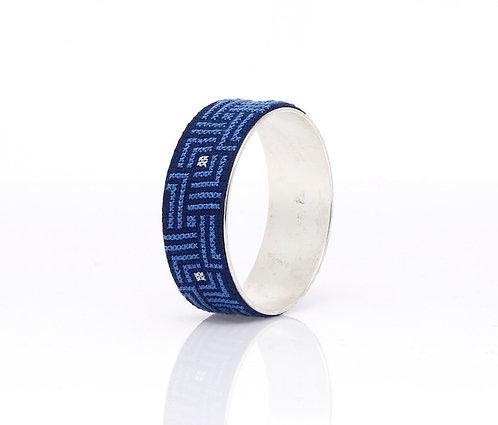 Bold Bangle Silver-Plated Arabesque (Blue)