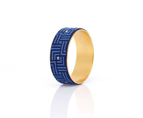 Bold Bangle Gold-Plated Arabesque (Blue)