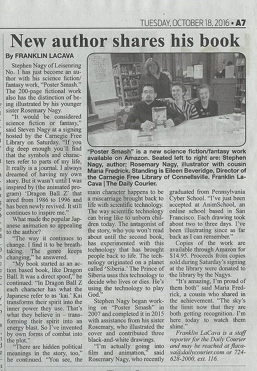 Herald Standard Newspaper Article from Stephen's first Book Signing.
