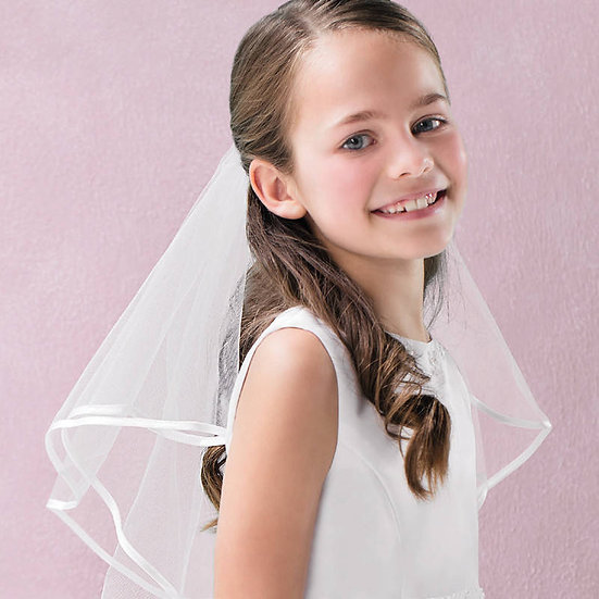 Emmerling White Satin Edge Communion Veil.