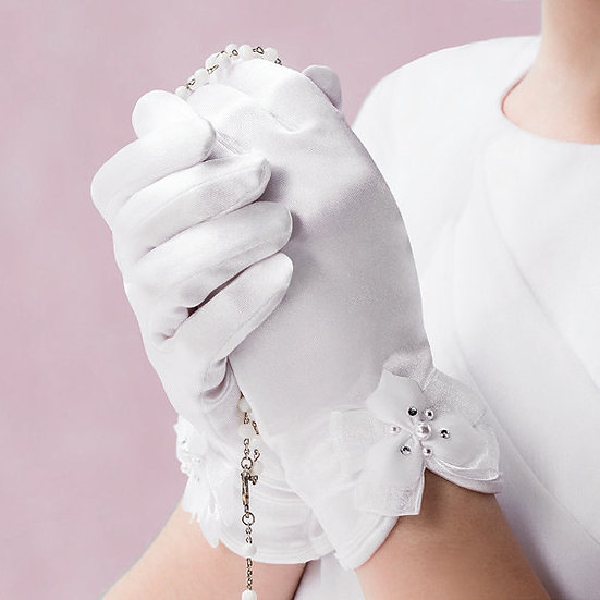 Emmerling White Bow Communion Gloves