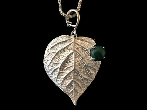 """Verdant""~Hydrangea Leaf Pendant with Malachite~Special Order"