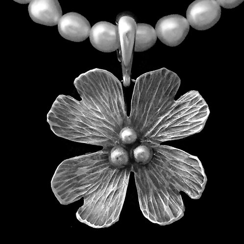 Large Dogwood Blossom Pendant~Patina