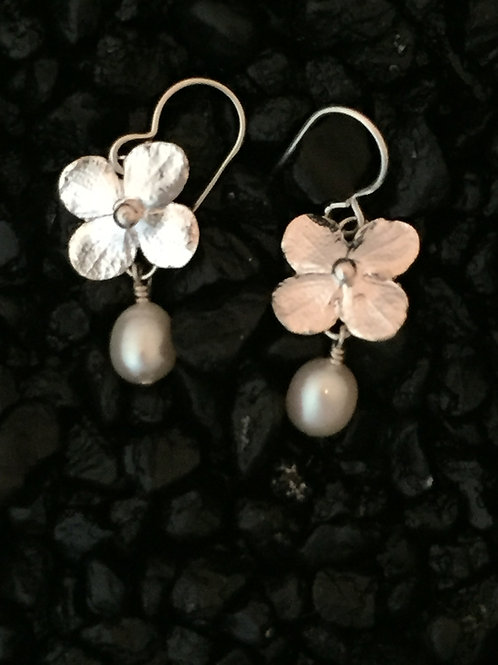Hydrangea Blossom Earrings with Peacock Pearls