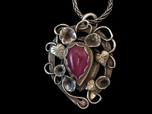 Morning Glory Flower Trellis Pendant with Ruby~Reversible