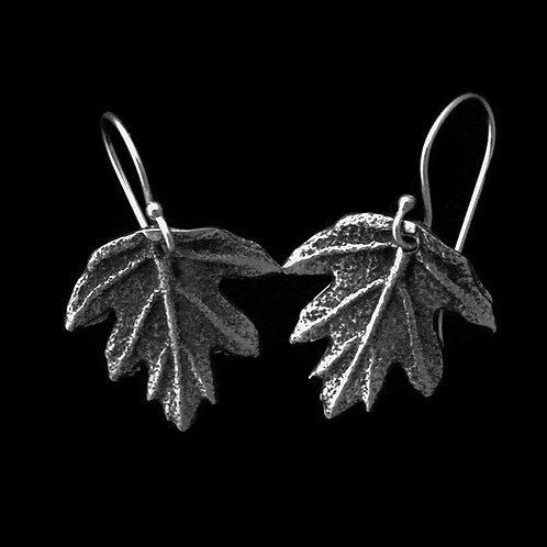 Oak Leaf Hydrangea Earrings~Oxidized