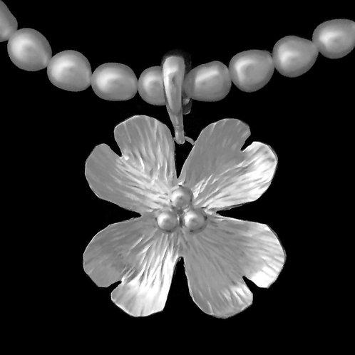 Large Dogwood Blossom Pendant~Shiny