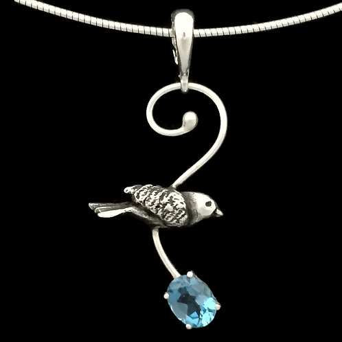 Flying Bluebird with London Blue Topaz Pendant