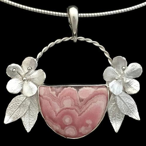 Cherry Blossom & Rhodochrosite Basket Pendant
