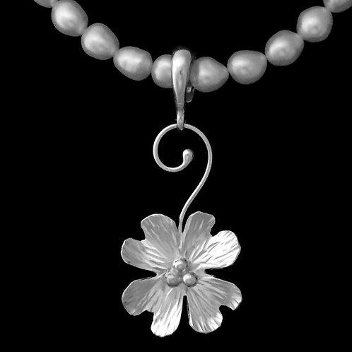Small Dogwood Blossom Pendant~Swirl Bail~Shiny