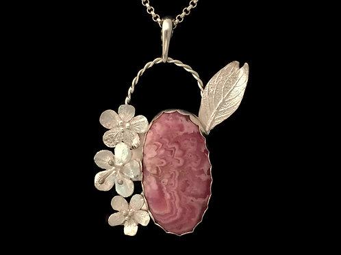 Cherry Blossom & Rhodochrosite Pendant~#1
