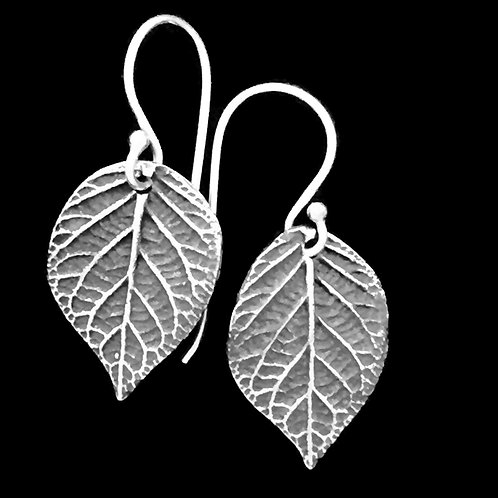 Hydrangea Leaves Earrings Small~Patina