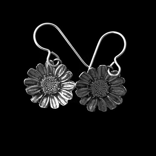 Daisy Blossom Earrings~Ear Wire or Post~Oxidized