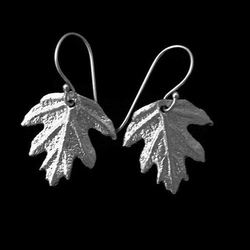 Oak Leaf Hydrangea Earrings~Shiny