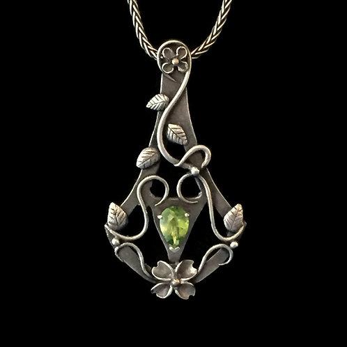 Dogwood Blossom Flower Trellis Pendant with Peridot~Fine Silver w/ 14K