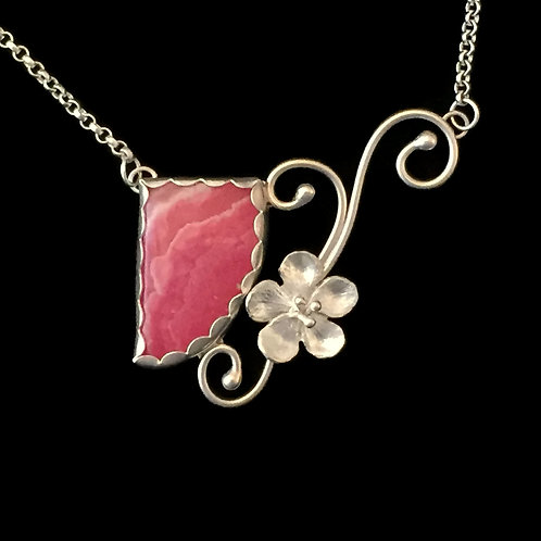 """Cherry Blossom & Rhodochrosite Necklace~""""Everblooming Petals"""""""