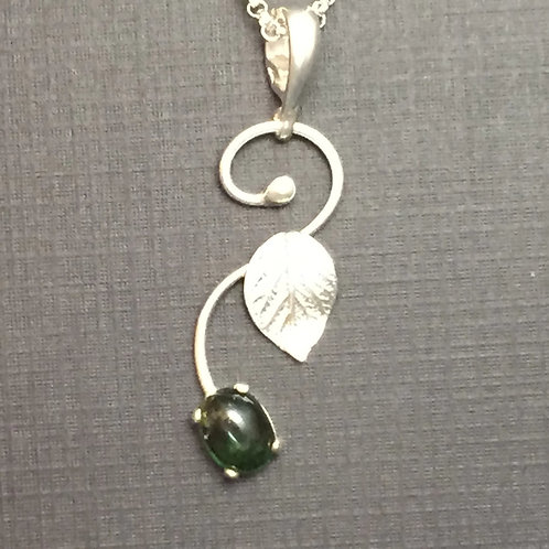 Hydrangea Leaf Vine Pendant with Tourmaline