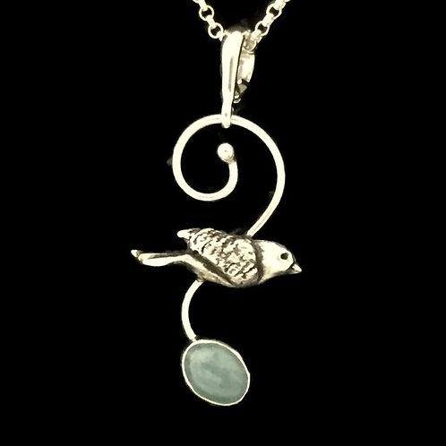 Flying Bluebird with Milky Aquamarine Pendant