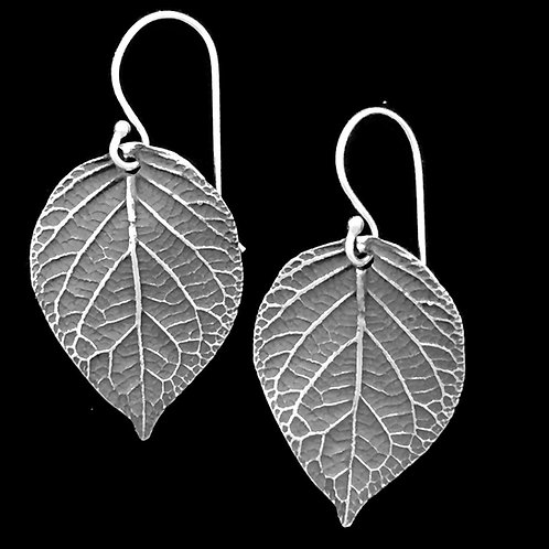 Hydrangea Leaves Earrings Large~Patina