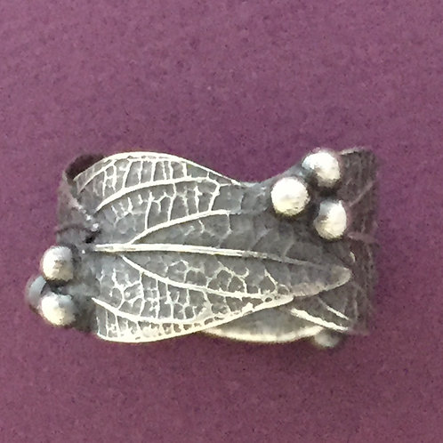 Wide Hydrangea Leaf and Bud Ring~Patina