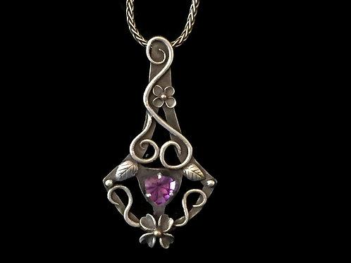Dogwood Blossom Flower Trellis Pendant with Amethyst~Fine Silver w/ 14K