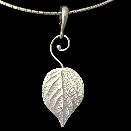 Hydrangea Leaf Pendant~Swirl Bail~Medium