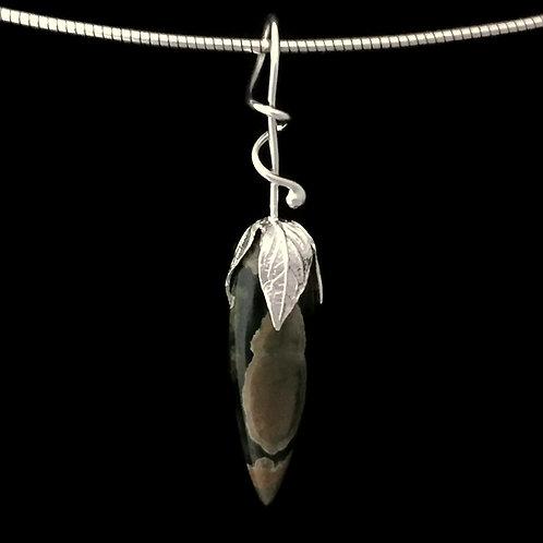 Seed Pod with Stone~Custom~You Select Stone~Vine Bail Pendant
