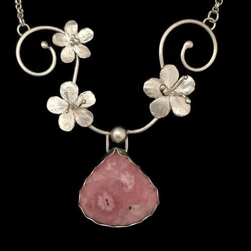 Cherry Blossom & Rhodochrosite Swirl Necklace