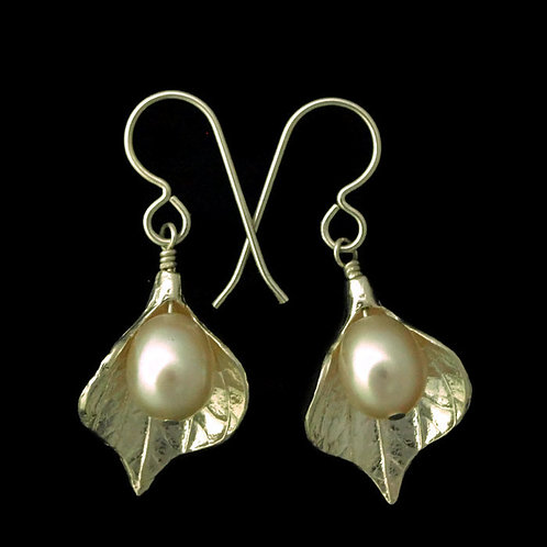 Calla Lily Earrings with White Pearls~Large