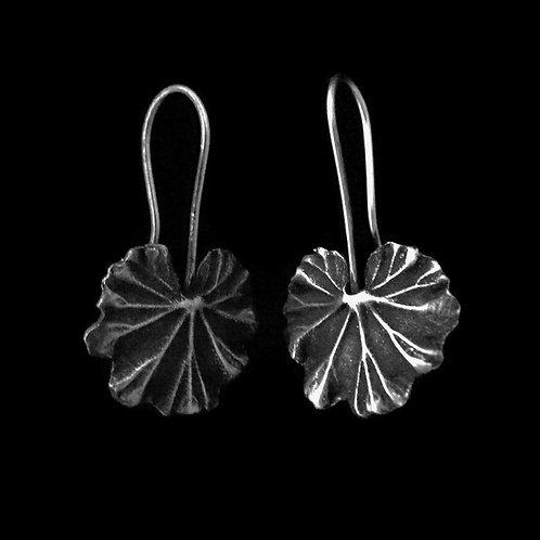 Geranium Leaf Earrings~Oxidized~Medium