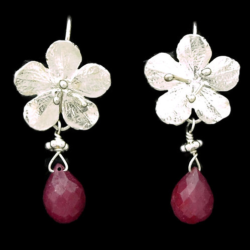 Cherry Blossom & Ruby Drop Earrings