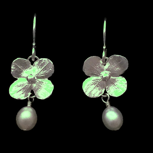Hydrangea Blossom Earrings with White Pearls
