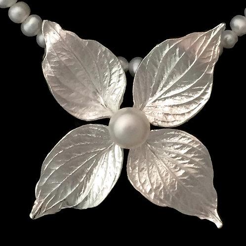 Koussa Dogwood~Clematis Flower Pendant~White Pearl