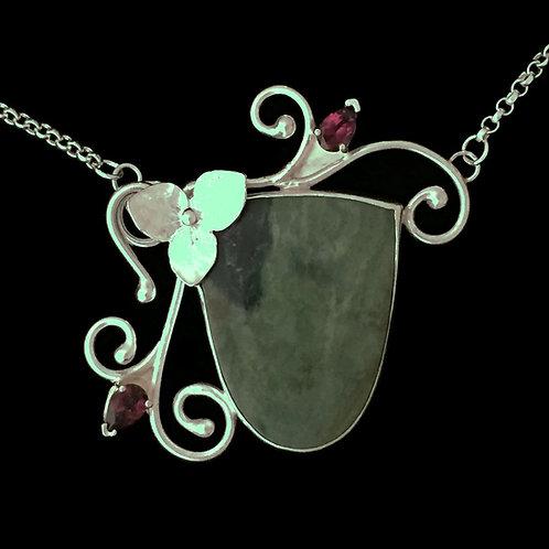 Trillium Dance~Rhodolite Garnet Buds Necklace