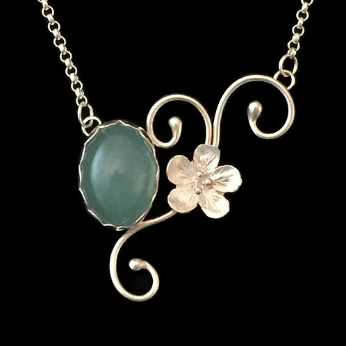 Twined Vines with Milky Aquamarine & Cherry Blossom Necklace