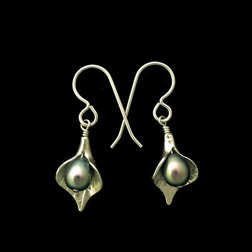 Calla Lily Earrings with Peacock Pearls~Small