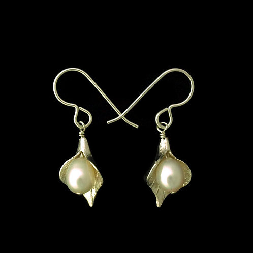 Calla Lily Earrings with White Pearls~Small