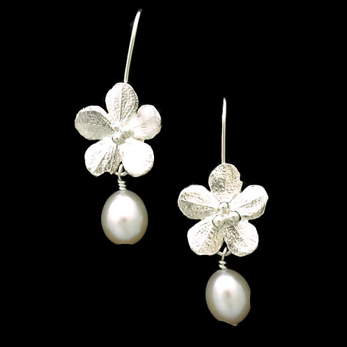 Cherry Blossom & Pearl Drop Earrings
