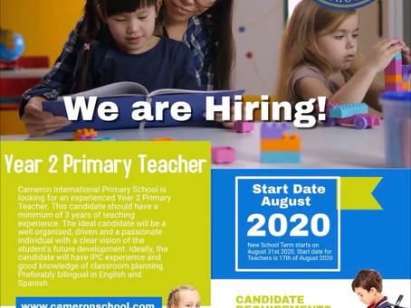 WE ARE HIRING!!!!! YEAR 2 PRIMARY TEACHER NEEDED