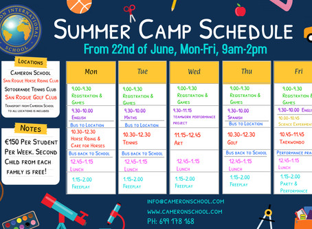 Cameron International Summer Camp Schedule