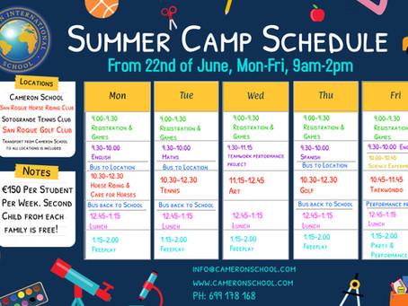 Cameron International Summer Camp Schedule