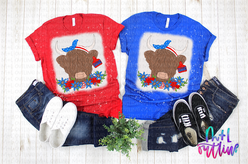 BLEACHED Shaggy Patriotic Cow - Freedom - Unisex Adult Tee