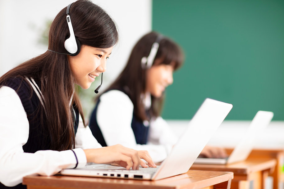 teenager student learning online with he