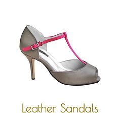 Pink T-strap sandals