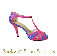 Snake and satin sandals