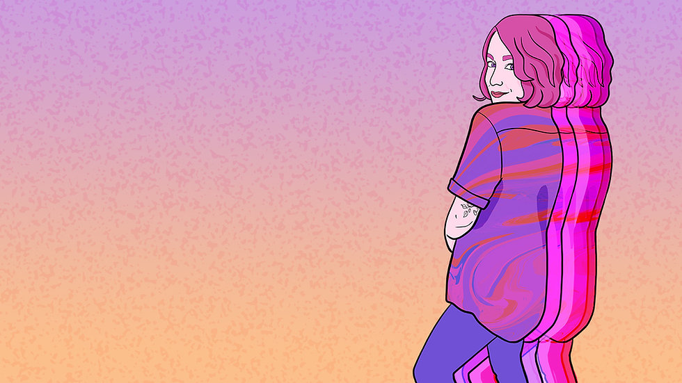 a banner featuring a digital drawing of Jess in a purple and pink swirly shirt, turned away from the camera but looking back with a grin. They have been drawn with pink hair; a line drawing tattoo of a flower is visible peeking out from under their shirt sleeve on the back of their arm.