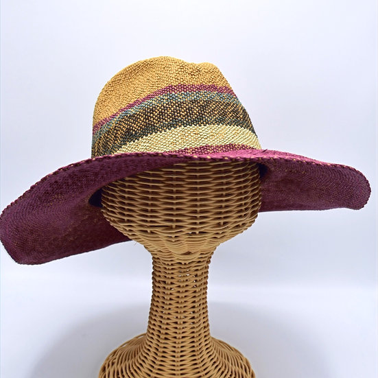 Crushable woven striped sunhat
